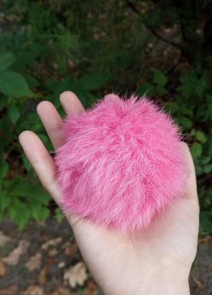 Помпон в подарок к любой покупке яркий розовый пушистый натуральный мех