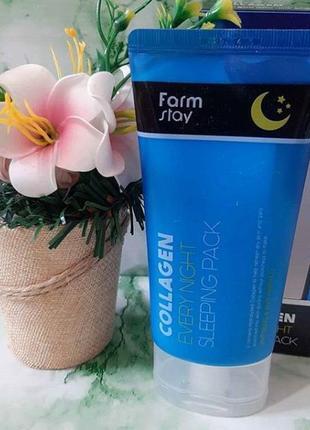 Ночная маска для лица с коллагеном farmstay collagen every night sleeping pack - 120 мл