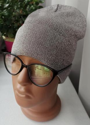 Новая красивая шапка с люрексом (утеплена флисом) кофейная