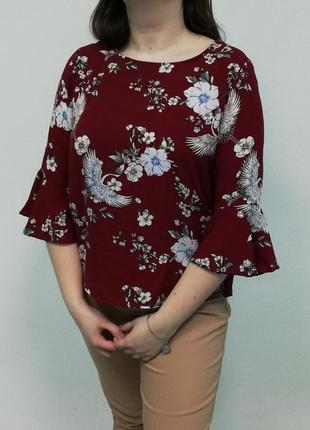 Красная блуза женская с узором | бренд amisu с new yorker  | идеальное состояние