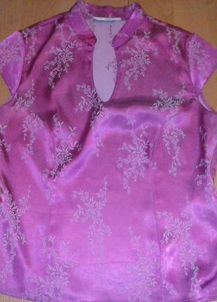 Блуза розовая с вышивкой 48-50р.