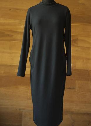 Черное платье в рубчик миди для беременных h&m, размер м
