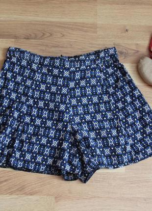 Оригинальные шорты юбка с завышеной талией и оригинальным принтом в стиле бохо этно