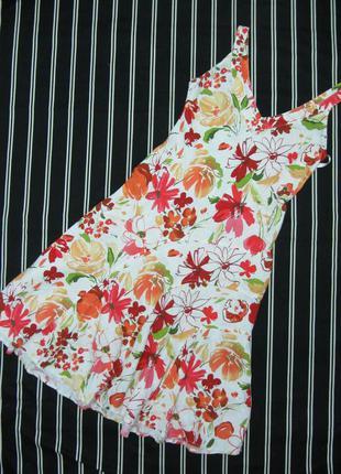 Платье сарафан летний цветной per una (marks & spencer) 100% лён  размер 12