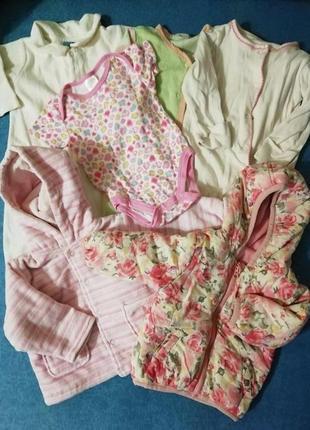 Пакет вещей на девочку. одежда для девочки. 3 - 6 мес. человечки, курточка, боди
