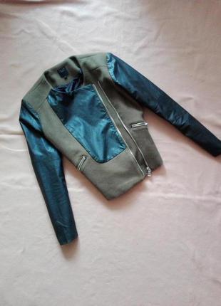 Короткое шерстяное пальто с вставками из кожзама / косуха от city life