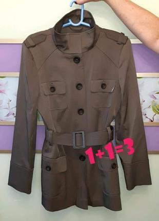 🎁1+1=3 фирменное кофейное пальто тренч с карманами f&f демисезон осень, размер 48 - 50