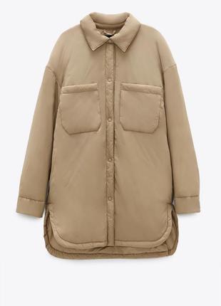Новая куртка zara зара бежевая рубашка беж дутик курточка пальто рубашечного кроя
