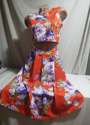 Красивый костюм комплект топ и юбка в цветочный принт