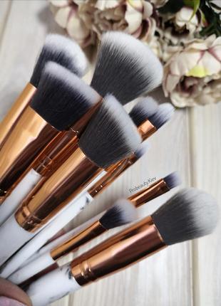 10 шт мраморные кисти для макияжа набор мрамор marble/grey probeauty