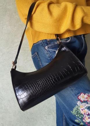 Трендовая сумочка багет (черная)