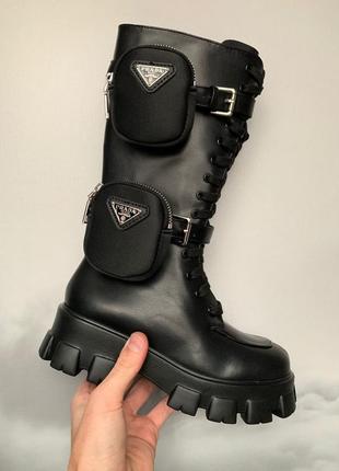 Женские кожаные ботинки prada monolith black high черного цвета 😍(термо/без меха)