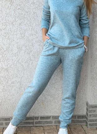 Спортивный костюм ангора, свитшот и штаны, бирюза