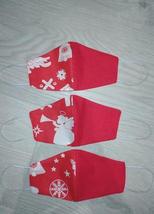 Защитные детские маски новогодние. маска в снежинки, многоразовая