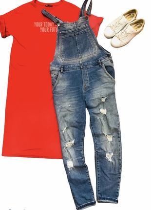 Стильный джинсовый комбинезон от zara