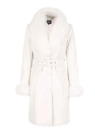 Новое кожаное пальто / плащ с натуральным мехом only