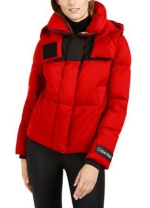 Куртка стеганая пуховик с капюшоном дутая calvin klein оригинал лаковый
