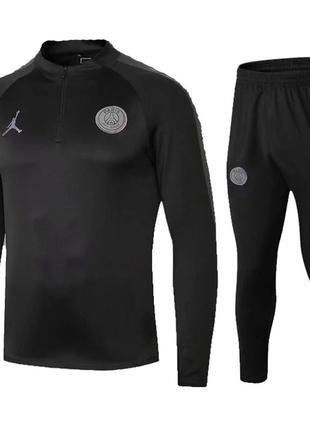 Футбольный костюм для детей псж air jordan black 2019 (2721)