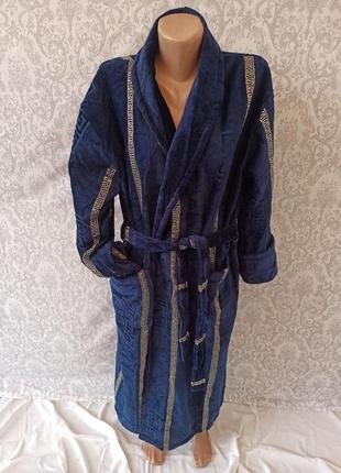 Теплый длинный мужской махровый халат из натурального материала, хлопковые мужские халаты
