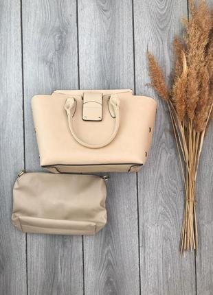 Вместительная сумка трансформер бежевая крутая стильная красивая