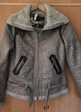 Дубленка искусственная denim co куртка курточка теплая косуха авиатор