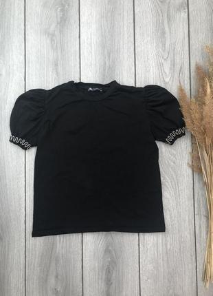 Zara зара стильная футболка блузка чёрная с красивыми рукавами xs 34 6 s 36 8 xxs 32 4