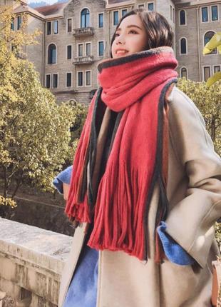 Объемный стильний теплий шарф 779