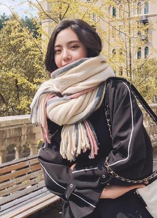 Объемный стильний теплий шарф, накидка, палантин, платок 779
