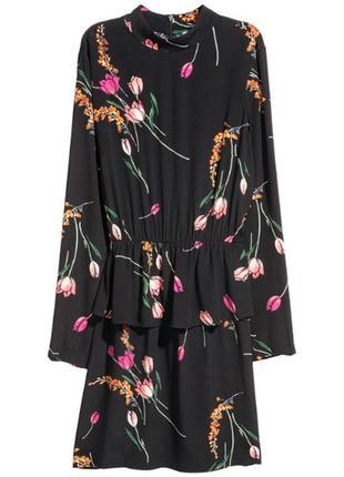 Вискозное платье длинный рукав  с баской
