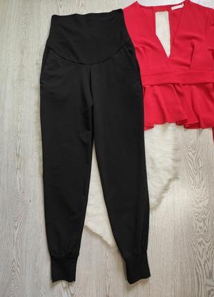Черные плотные спортивные штаны брюки для беременных высокая широкая талия резинка