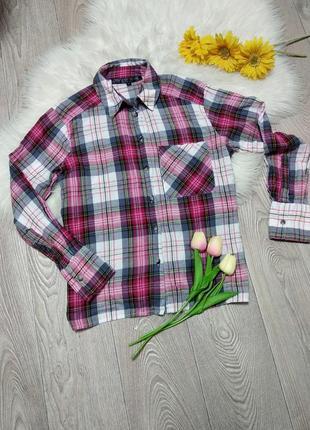 Женская рубашка для девушки подростка в клетку клеточку хб коттон