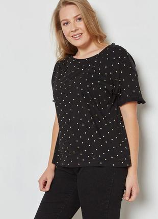 Черная натуральная футболка с золотыми точками принтом блестящим стрейч женская