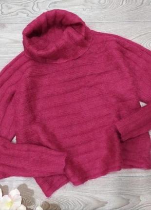 Яркая укороченная махеровая кофта свитер водолазка