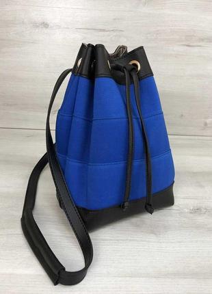 Женская синяя сумка-рюкзак трансформер молодежная текстильная через плечо 44504