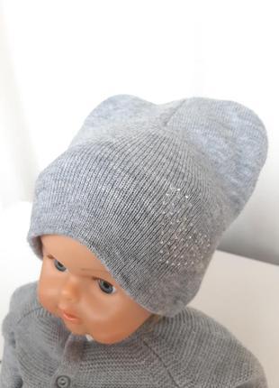 Шапочка теплая на девочку 2-5 лет шапка