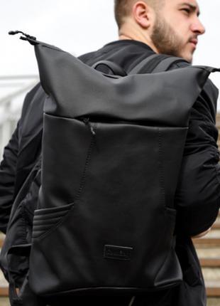 Новинка стильний рюкзак рол чорний екошкіра унісекс