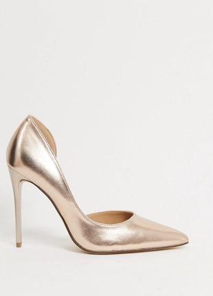 Шикарные золотые  туфли лодочки  asos не zara