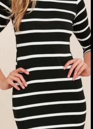Платье трикотажное вязанное в полоску