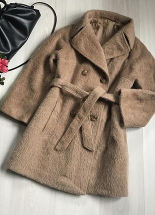 Стильное теплое пальто zober 100% мохер размер l