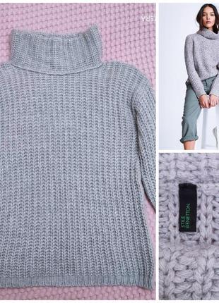 Теплый шерстяной свитер# джемпер оверсайз крупной вязки benetton, p. s/ м