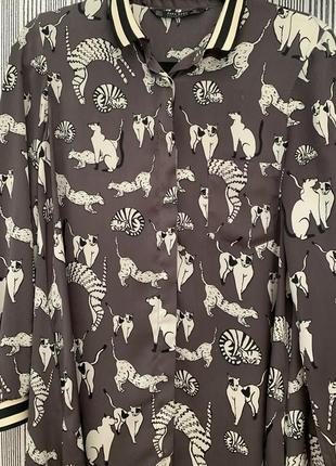 Платье - рубашка шелковое zara