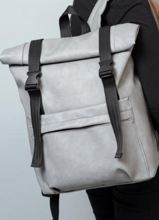 Жіночий рюкзак рол сірий нубук екошкіра