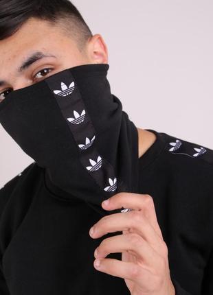 Бафф утеплённый чёрный с лампасом чёрно-белым adidas