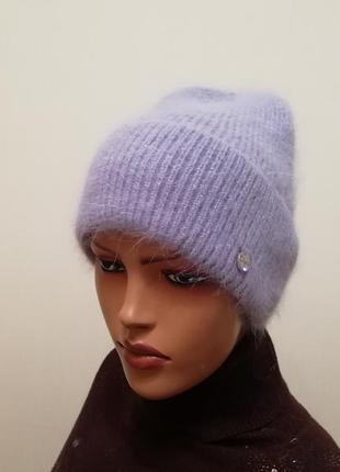 Классная шапка ангора джинс 56-58