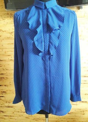 Блузка шелковая синяя в горошек oodji