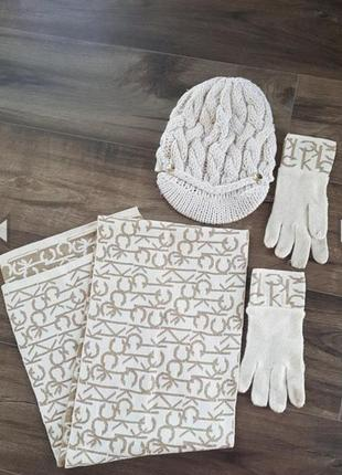 Набор шапка шарф и перчатки calvin klein, оригинал