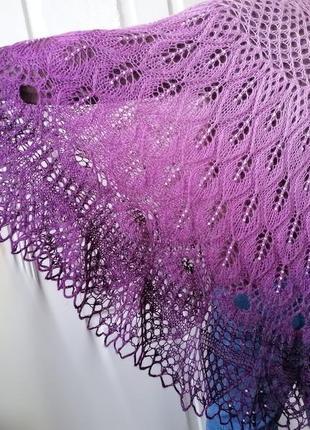 Шаль палантин шарф платок вязаный  тёплый с бусинами мохер 60% ручная работа