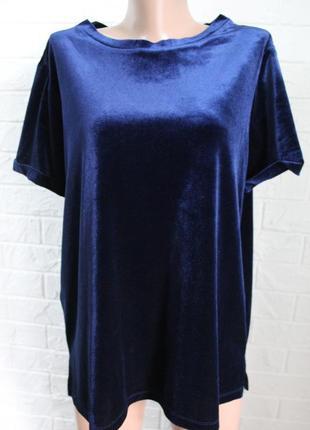 Вилюровая блузка футболочного кроя next в идеальном состоянии 2хl