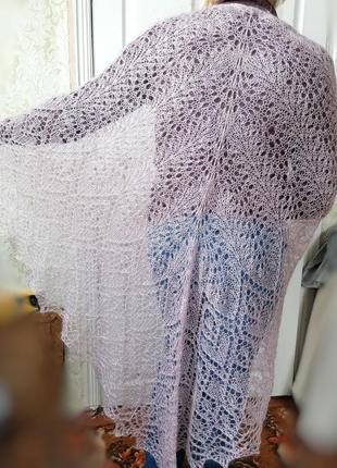 Шаль палантин шарф платок тёплый красивый ручная вязка 80% мохер жемчужная нить