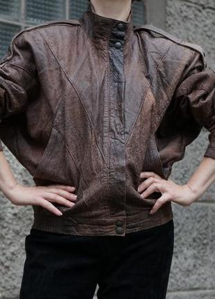 Винтажная кожаная куртка, оверсайз, бренд baron. 100 % кожа.